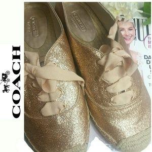Rose Gold Glitter Espadrilles COACH Lace up flats